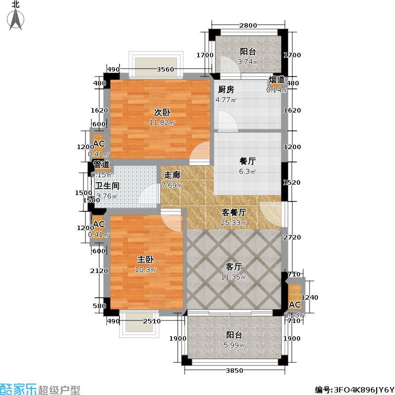 美林湖国际社区86.02㎡6A/6B/7A/7B/10/11号楼 01、04户型2室2厅1卫