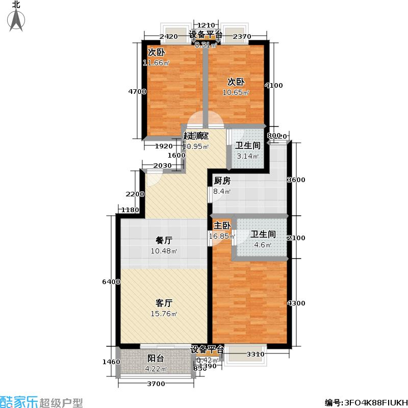 万年花城・濠景四期9号楼J户型三室二厅二卫户型