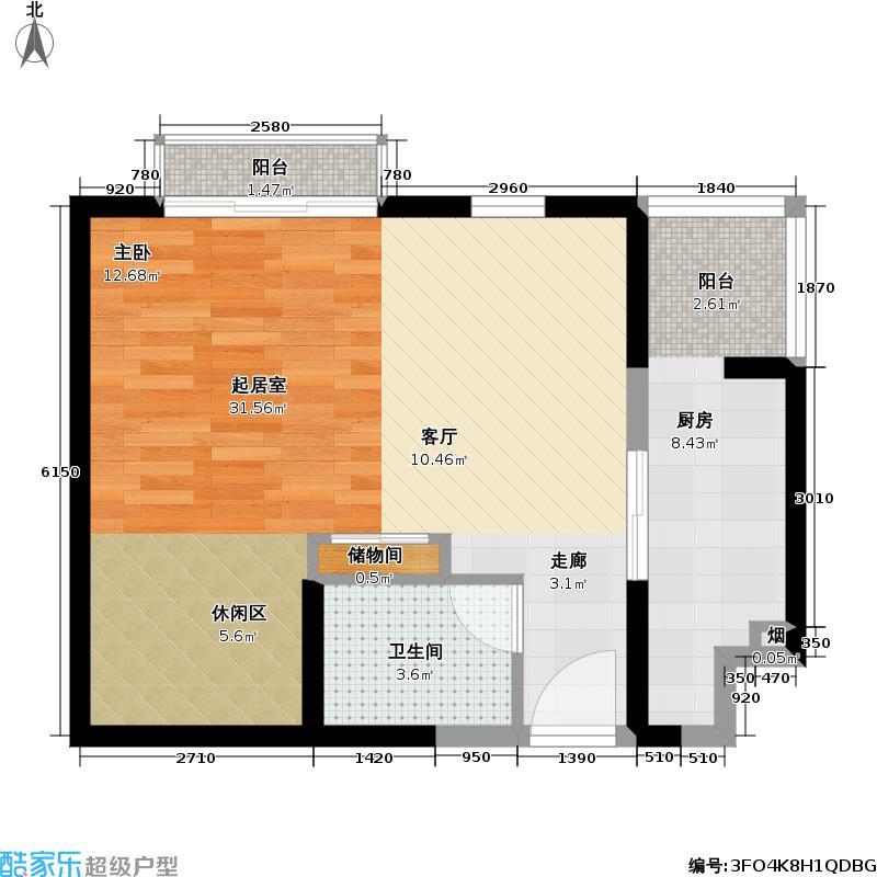 龙泽苑58.84㎡一居一厅户型