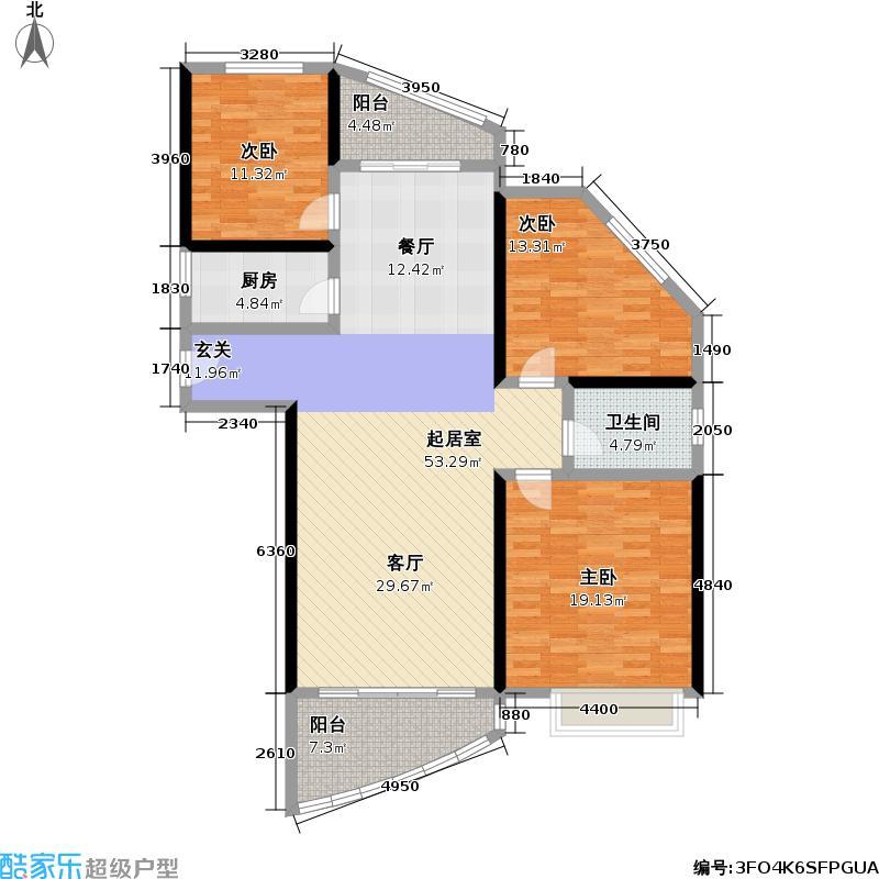 上海国际花园户型3室1卫1厨
