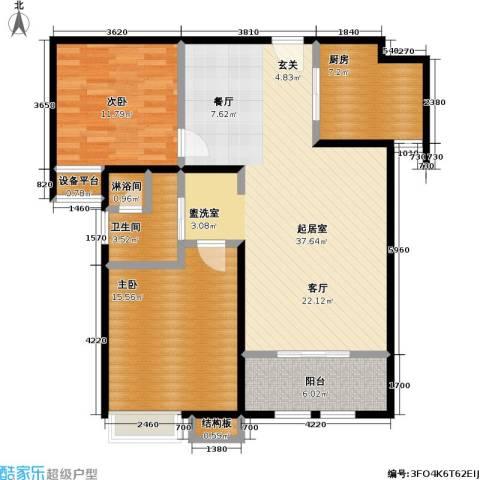 稽山御府天城2室0厅1卫1厨95.00㎡户型图
