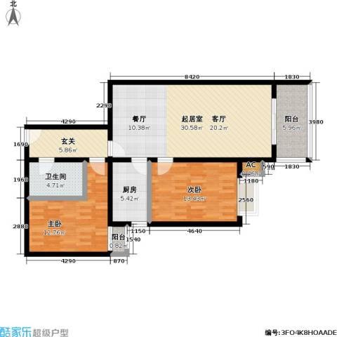 庚坊国际(好来屋)2室0厅1卫1厨92.00㎡户型图