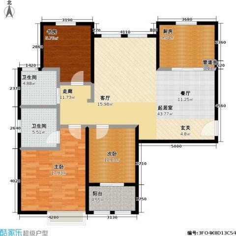 稽山御府天城3室0厅2卫1厨118.00㎡户型图