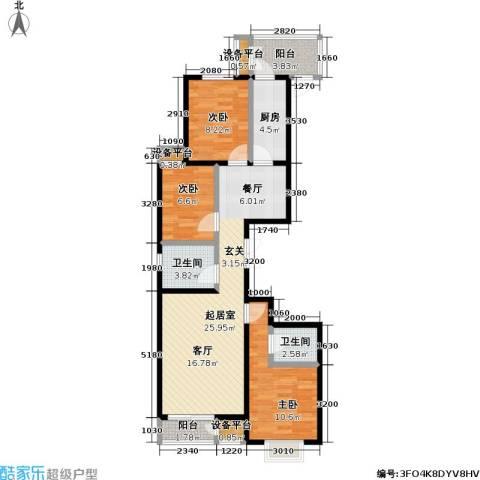 力天凤凰城3室0厅2卫1厨102.00㎡户型图