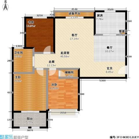 稽山御府天城3室0厅1卫1厨121.00㎡户型图
