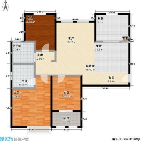 稽山御府天城3室0厅2卫1厨130.00㎡户型图