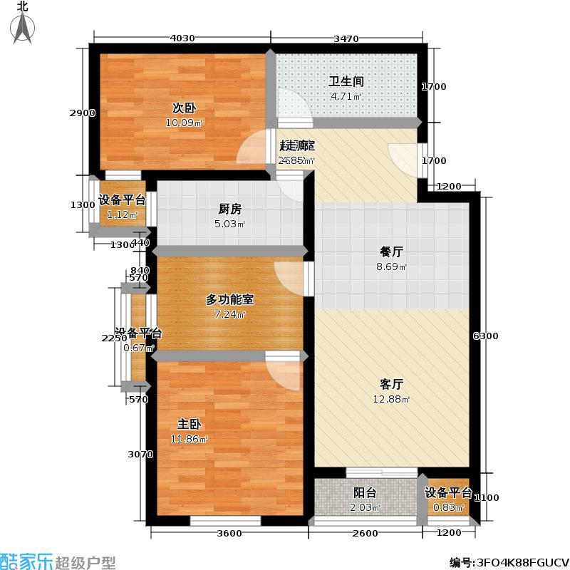 万年花城・濠景四期10号楼A户型二室二厅一多功能室一卫户型