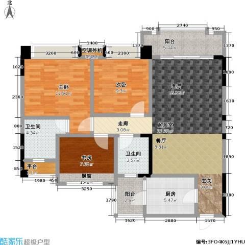 瀚华花园3室0厅2卫1厨105.00㎡户型图
