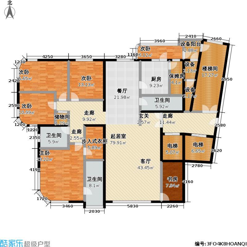 10号名邸279.14㎡D户型四室两厅户型