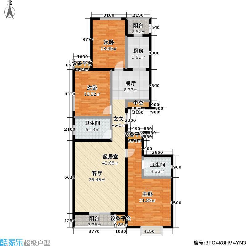 力天凤凰城132.00㎡S3-1户型3室2厅2卫