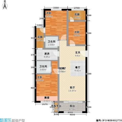 早安北京3室2厅2卫1厨108.00㎡户型图