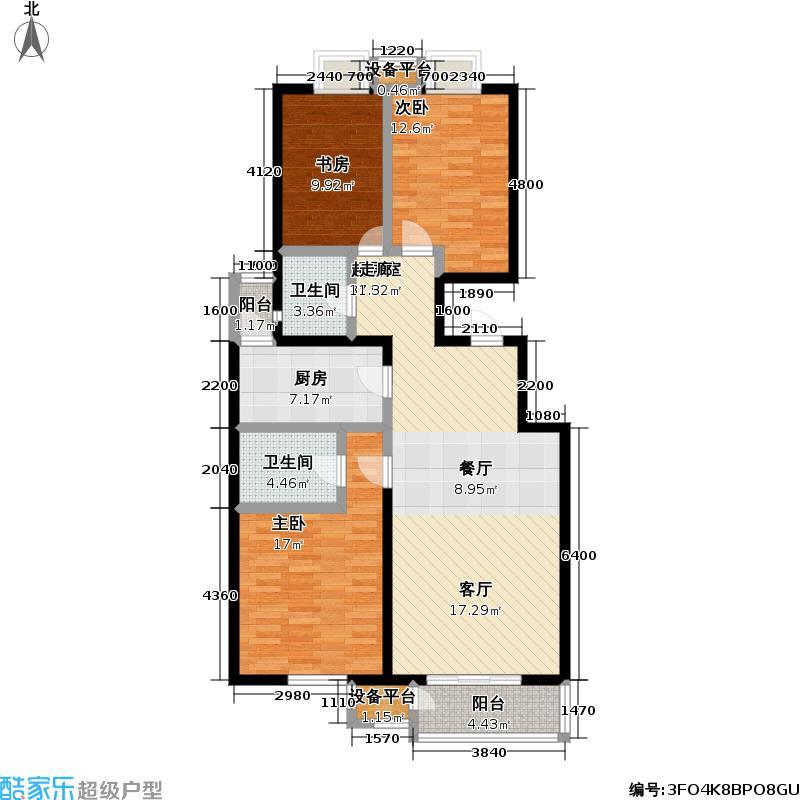 万年花城・濠景四期8号楼A反11单元三室二厅二卫户型