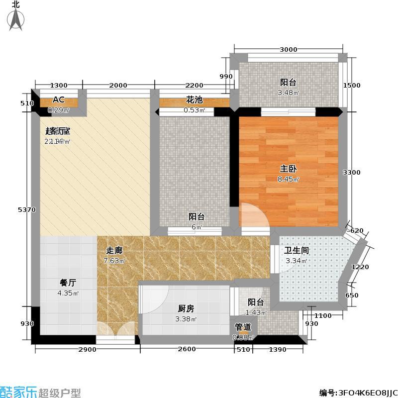 宝安山庄尊域58.00㎡A栋偶数层 D户型 可改两房户型1室2厅1卫