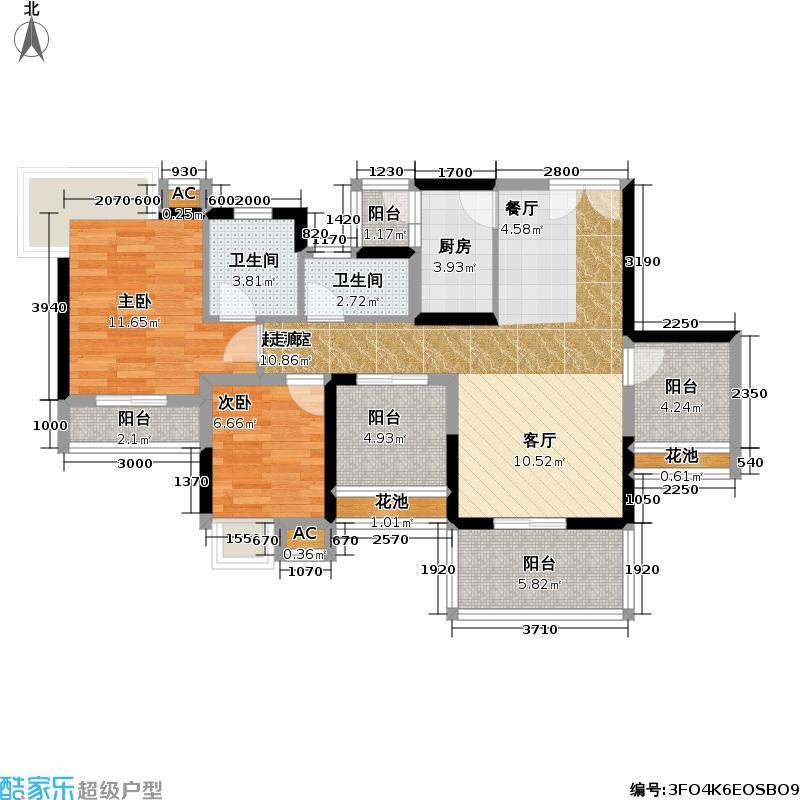 宝安山庄尊域85.00㎡B栋偶数层 F1户型 可改四房户型2室2厅2卫