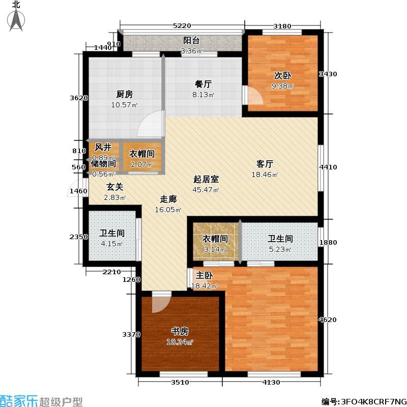 桃源V尊129.00㎡三室两厅两卫129㎡户型3室2厅2卫
