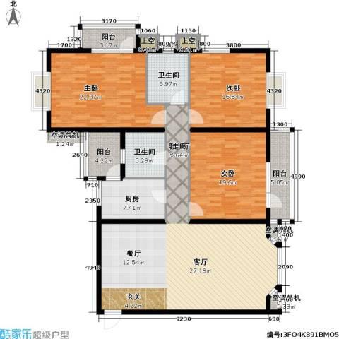 金港国际公寓(三期)3室1厅2卫1厨201.00㎡户型图