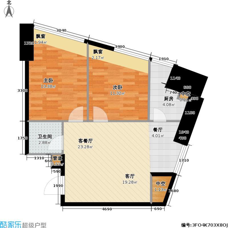 泉�同福大厦76.00㎡两室两厅一卫户型2室2厅1卫
