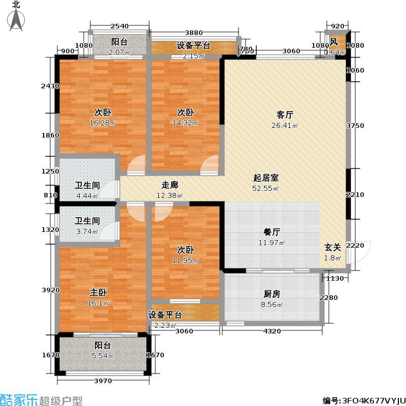 外滩三阳金城155.00㎡外滩三阳金城户型图1-4户型4室2厅2卫(3/3张)户型4室2厅2卫