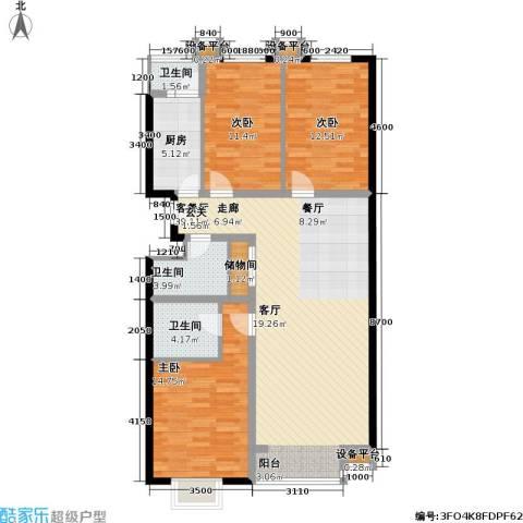 西山枫林3室1厅3卫1厨130.00㎡户型图