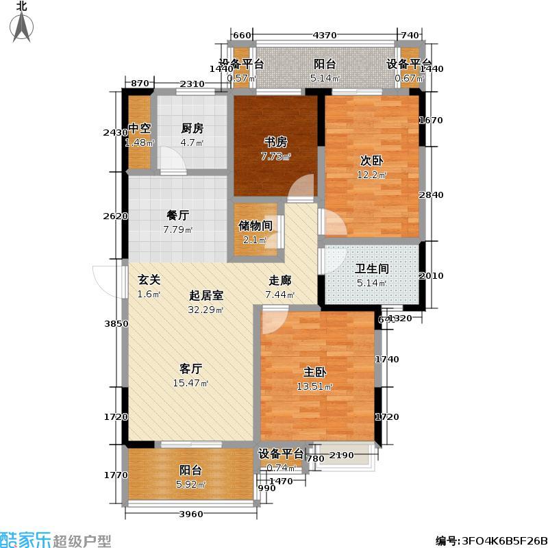 外滩三阳金城122.72㎡外滩三阳金城户型图C1-3三房二厅一卫(12/13张)户型10室