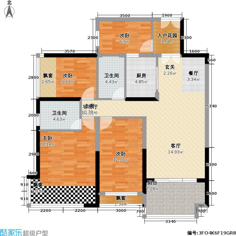 龙光水悦龙湾2号楼112.7平米户型4室2厅2卫