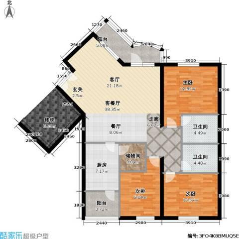 清境明湖公寓3室1厅2卫1厨152.00㎡户型图