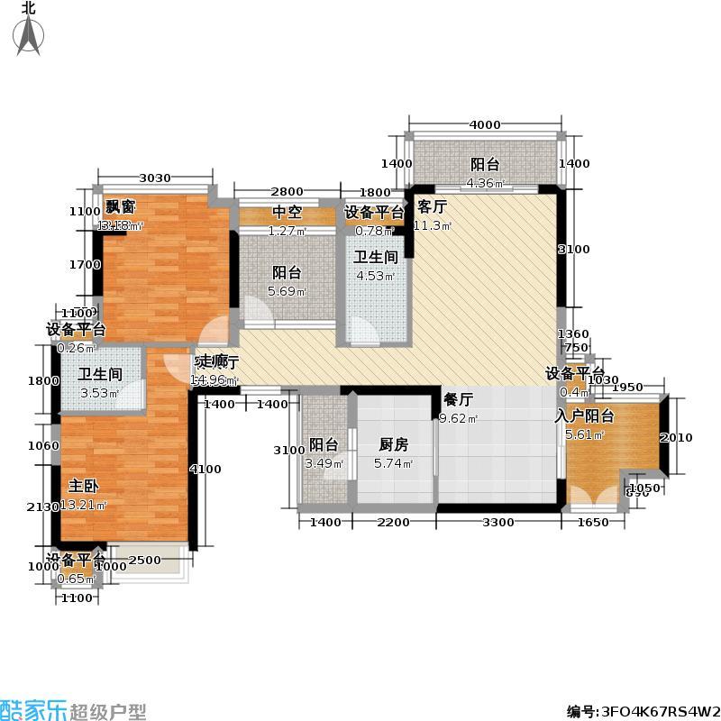 龙光水悦龙湾116.00㎡一单元03、二单元02户型2室2厅2卫