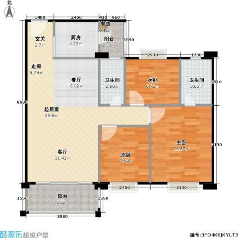 金朗华庭3室0厅2卫1厨82.22㎡户型图