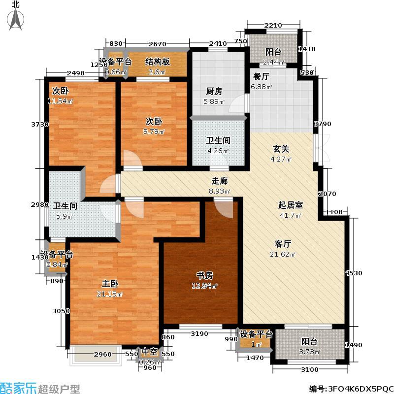 澜湾半岛160.63㎡澜湾半岛一期9-10-11号楼标准层G户型4室2厅2卫