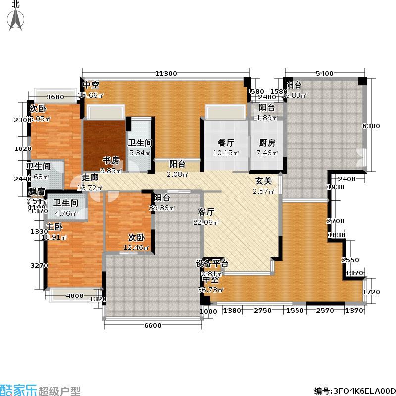 公园大地174.17㎡上东区11栋B座03 四房两厅三卫 (偶数层)户型