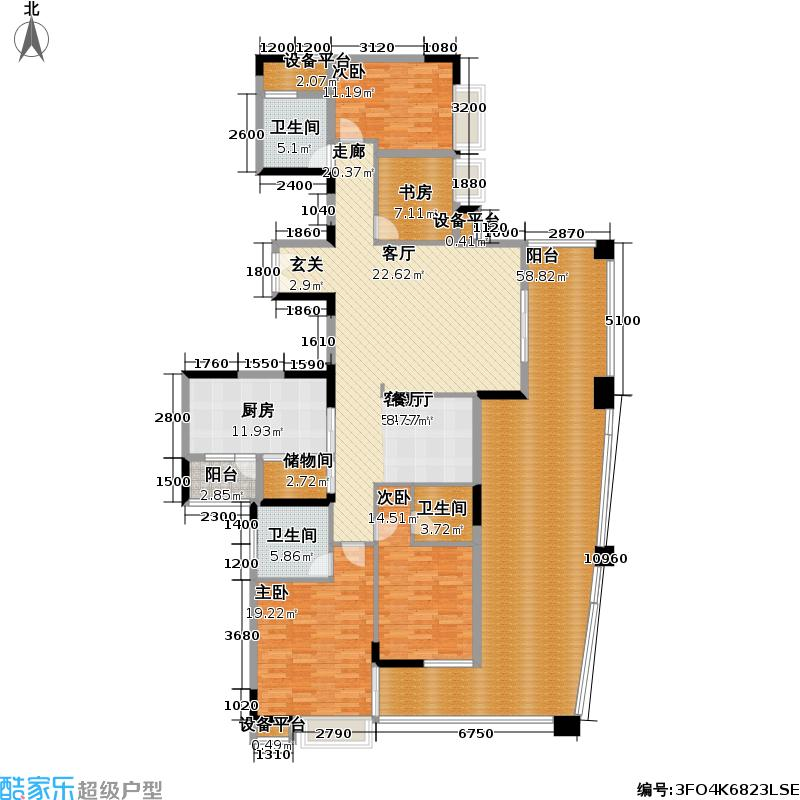 公园大地四房两厅两卫户型