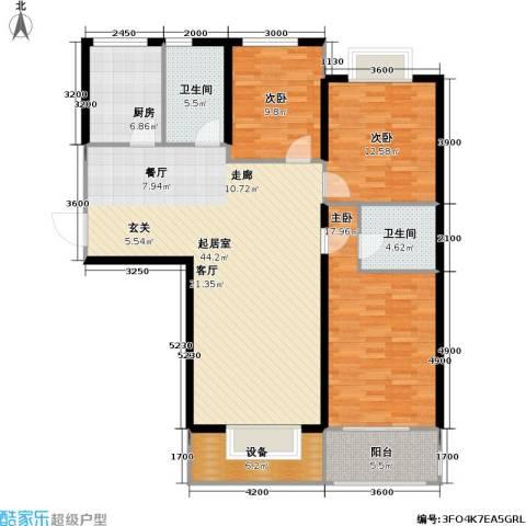 高教公寓3室0厅2卫1厨125.14㎡户型图