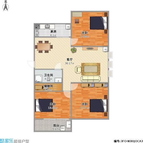 槐花园小区3室1厅1卫1厨138.00㎡户型图