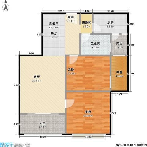浔城湖锦2室1厅1卫1厨86.00㎡户型图