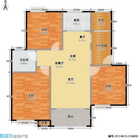 浔城湖锦3室1厅1卫1厨106.00㎡户型图