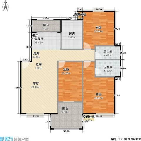 浔城湖锦3室1厅2卫1厨121.00㎡户型图
