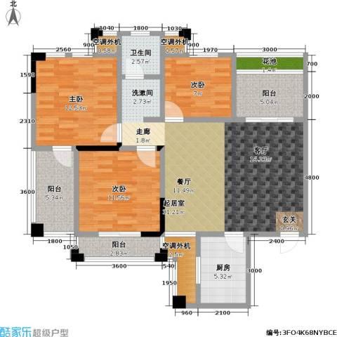 现代森林小镇金融SOHO垂直商业3室0厅1卫1厨107.00㎡户型图