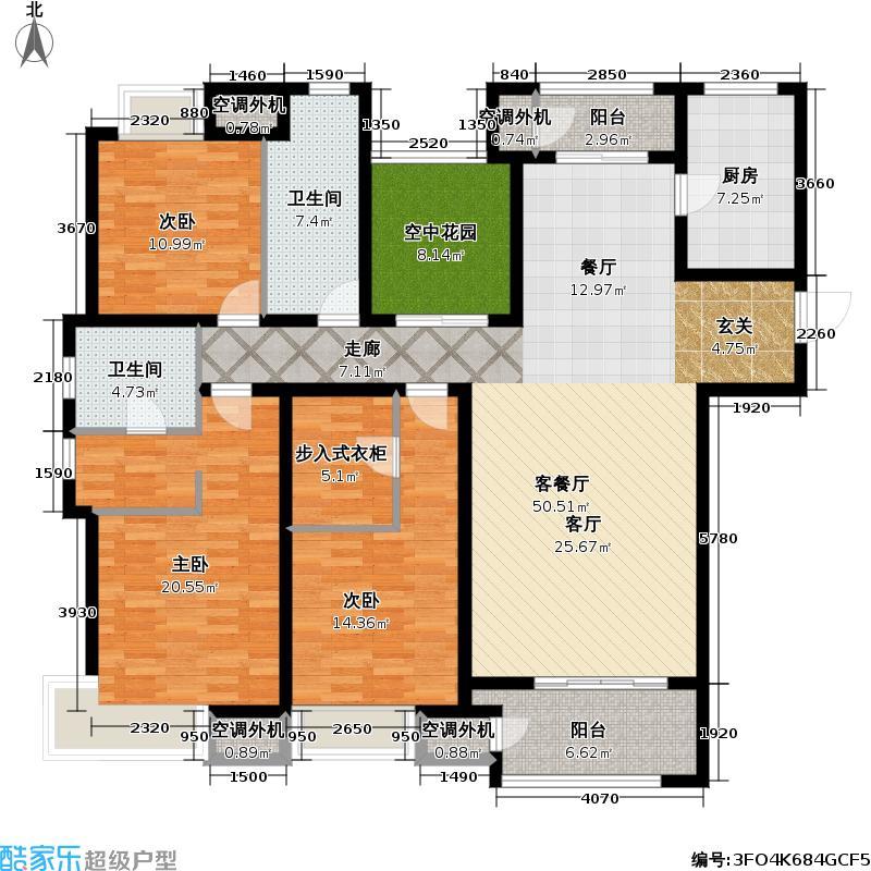 九龙仓繁华里165.00㎡F户型3室2厅2卫