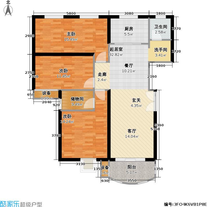 兴华童话世界户型3室1卫1厨
