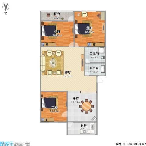 东兴花园3室1厅2卫1厨138.10㎡户型图