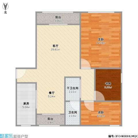 环球翡翠湾花园3室1厅1卫1厨88.00㎡户型图