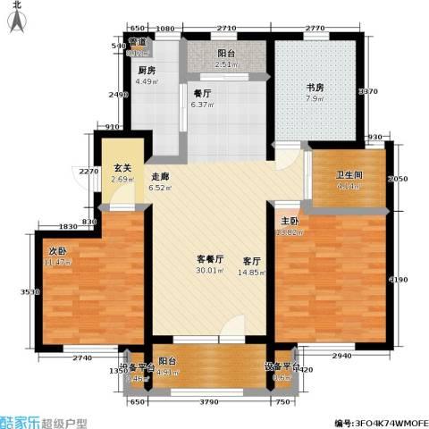 中海银海熙岸3室1厅1卫1厨105.00㎡户型图