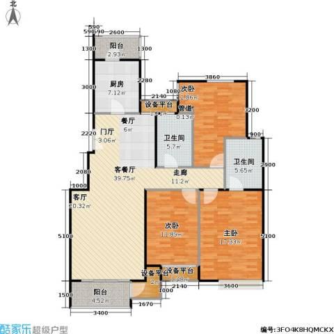 时代龙和大道3室1厅2卫1厨135.00㎡户型图