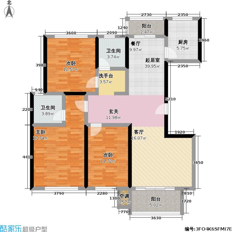 上海国际花园户型3室2卫1厨