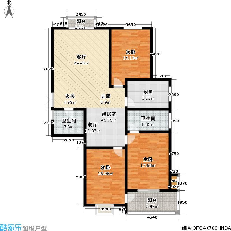 洹上名门143.00㎡三室两厅一厨一卫户型3室2厅1卫