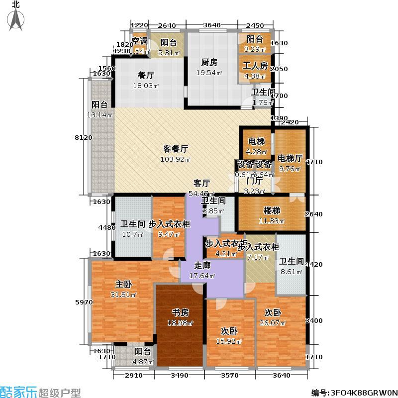 融泽府363.49㎡F座A15户型-四室二厅三卫一仆-15层户型