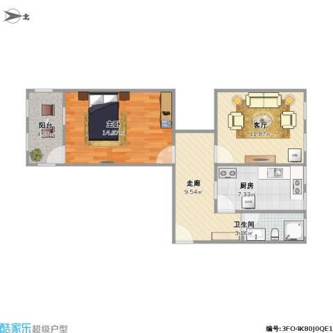 甸柳小区1室1厅1卫1厨70.00㎡户型图