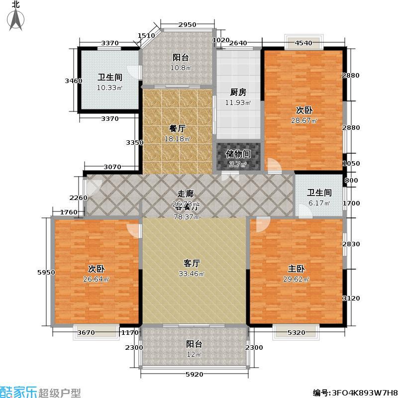 月亮城237.00㎡9#E-02户型3室2厅2卫