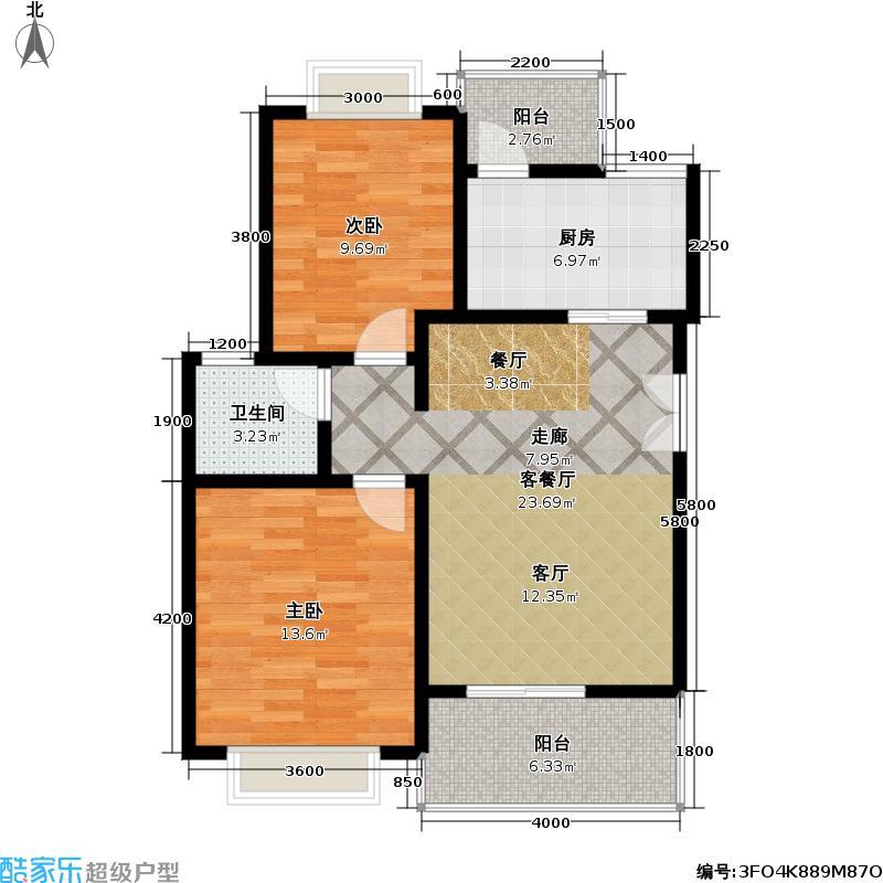 博亚・龙湾88.64㎡公寓户型 2室2厅1卫户型