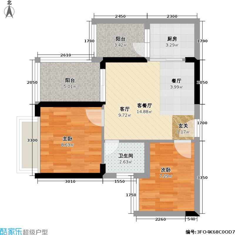 航空新城1号户型2室1厅1卫1厨